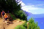 Na Pali coast hikers on the Kalalau Trail, Kauai, Hawaii