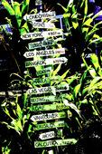 Milepost to world cities, Kapaau, Big Island, Hawaii