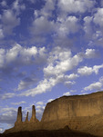 The Three Sisters in morning light, Monument Valley, Arizona