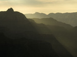 Sunrise light bathes Vishnu Temple, from Yavapai Point, Grand Canyon National Park, Arizona