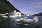 Float planes and cruise ships in Juneau, Alaska