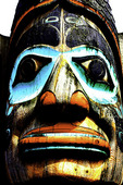 High contrast treatment of a section of the Chief Johnson totem pole in Ketchikan, Alaska