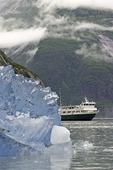 The Wilderness Discoverer and icebergs near Sawyer Glacier, Tracy Arm, Alaska