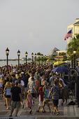 Tourists enjoy sunset at Mallory Square, Key West, Florida