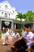 Riding the bull during the Hemingway Look-A-Like Contest, Sloppy Joe's Bar, Key West, Florida