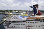 Downtown Nassau and a Carnival cruise ship docked in the Bahamas