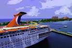 Atlantis Resort and a Carnival cruise ship docked in Nassau, Bahamas