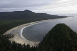 Aerial of Peril Bay and Beehive Hill, northwest coast of Graham Island, Haida Gwaii, British Columbia, Canada