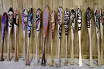 Painted cedar paddles at the Haida Cultural Center, Skidegate, Haida Gwaii