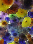 The blown glass flower ceiling by Dale Chihuly, in the registration area of the Bellagio Casino, Las Vegas, Nevada