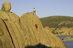 Climbing the granite walls of Watson Lake, Prescott, Arizona
