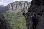 Traversing the 'Iron Road', the Via Ferrata, above Telluride, Colorado