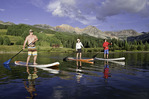 Paddleboarding with friends on 9,800' Trout Lake, south of Telluride in the San Juan Mountains of Colorado