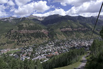 Summer view of Telluride from the Gondola en route to Mountain Village, San Juan Mountains, Colorado