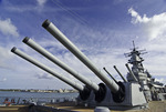 "The historic USS Missouri, with it's 16"" guns, is moored at Pearl Harbor, Oahu, Hawaii"