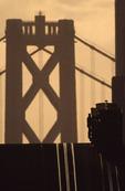 Man boarding the California Street cable car on Nob Hill at sunrise, San Francisco, California