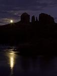 Full moon rising over Cathedral Rocks and Red Rock Crossing at Oak Creek, Sedona, Arizona