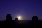 Moonrise over the Mittens and Merrick Butte, Monument Valley, Arizona