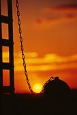 Sunrise behind the ball and chain, Yuma Prison State Park, Yuma, Arizona