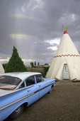 Rainbow over the teepees of the Wigwam Motel, Holbrook, Arizona
