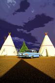 Teepees and storm clouds, Wigwam Motel, Holbrook, Arizona