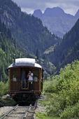 Riding the Durango & Silverton Railroad southbound through the San Juan Mountains of Collorado
