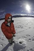 Ice fishing on Granby Lake, Grand County, Colorado