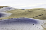 Russell Brown shoot snow on the sands of Eureka Valley Dunes, Death Valley National Park, California
