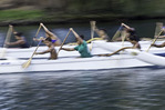 Outrigger paddlers practice on the Wailoa River, Hilo, Hawaii