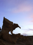 Sunset falls over the eroded sandstone figures of Devil's Fire, Nevada