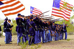 Union re-enactors fight again at the Civil War battlefield of Picacho Peak State Park, Arizona