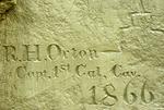 Historic inscription in sandstone on Inscription Rock, El Morro National Monument, New Mexico