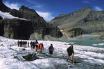 Back when the glacier existed, rangers led hikes on the Grinnell Glacier in 2000, Glacier NP, Montana