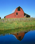 Red barn reflection, Flathead Valley, Montana