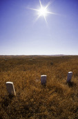 Marble gravestones mark where soldiers of the 7th Cavalry fell on the Little Bighorn Battlefield, Montana