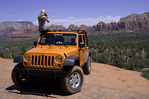 Photographing the red rocks of Sedona from a jeep on the Broken Arrow Trail, Arizona
