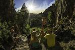 Rappelling friends take a break in Benson Creek canyon, north of Cedar City, Utah