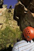 Rappelling a wall in Benson Creek Canyon, near Cedar City, Utah