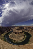 Horseshoe Bend of the Colorado River under monsoon skies, Page, Arizona