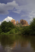Monsoon clouds over Cathedral Rocks and Oak Creek at Red Rock Crossing park, Sedona, Arizona