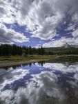 Cathedral Peak reflected in the Tuolumne River, Tuolumne Meadows, Yosemite National Park, California