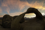 Sunset over Mt. Whitney and the Sierra crest, through Mobius Arch, Alabama Hills, Owens Valley, California