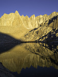 Sunrise light on the crest leading to Mt. Whitney, from Trail Camp at 12,000', Sierra Nevada range, California