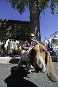 Dog lovers and shoppers at the Farmer's Market, Flagstaff, Arizona