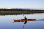 Kayaking at sunrise on Ashurst Lake, south of Flagstaff, Arizona