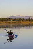 Kayaking at sunrise on Ashurst Lake, south of Flagstaff, Arizona