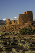 Wukoki ruin at sunrise, with fresh snow on the San Francisco Peaks, Wupatki National Monument, Arizona