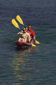 Couple kayaking at D. L. Bliss State Park, Lake Tahoe, California