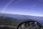 Gliding over the Kingsbury Grade with a view west to Lake Tahoe