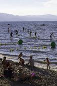 Summer recreation at El Dorado Beach, Lakeview Commons, Lake Tahoe, Nevada